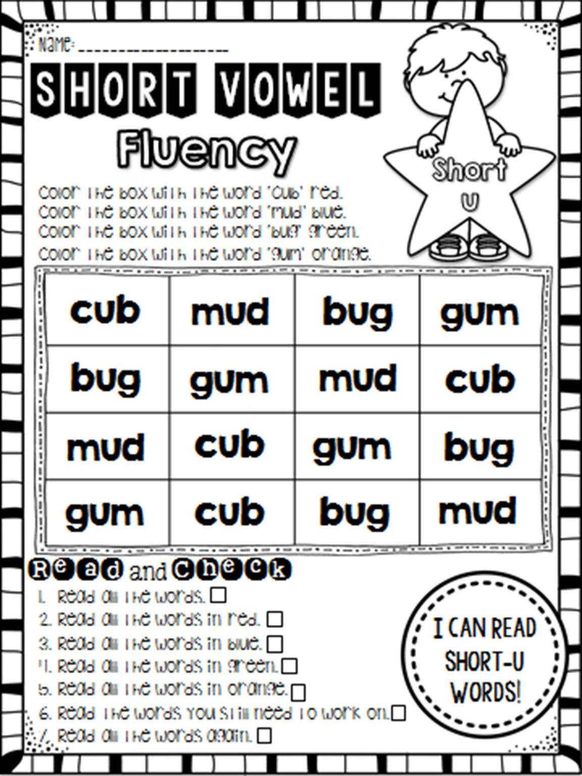Vowel Fluency Short U Cvc Words