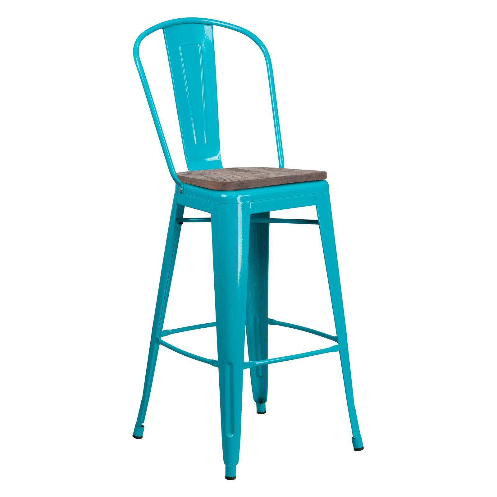 Miraculous Flash Furniture Industrial Splat Back 30 In Wooden Seat Bar Inzonedesignstudio Interior Chair Design Inzonedesignstudiocom