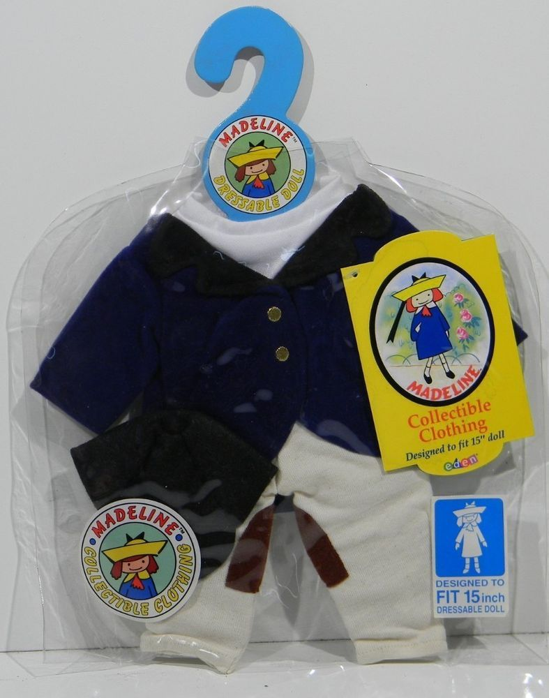 VINTAGE NEW WITH TAG 15 INCH MADELINE DOLL HORSE RIDING OUTFIT HAT PANTS SHIRT
