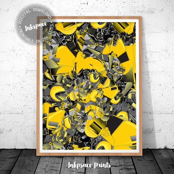 photograph about Printable Movie Poster identified as Printable transformer poster .Bumblebee collage