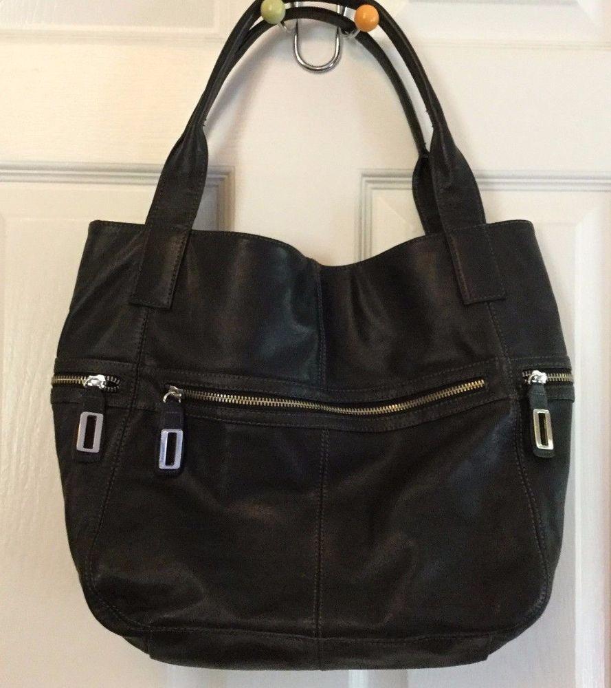 Alfani Soft Black Leather Shoulder Bag Silver Metal Hardware Snap Close   Alfani… f4493fe5be