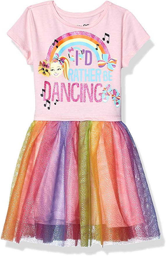 Amazon Com Jojo Siwa Girls Little Rather Be Dancing Tutu Dress With Tulle Skirt Lightpink Rainbow X Small 4 5 Clothin Jojo Siwa Tutus For Girls Tutu Dress