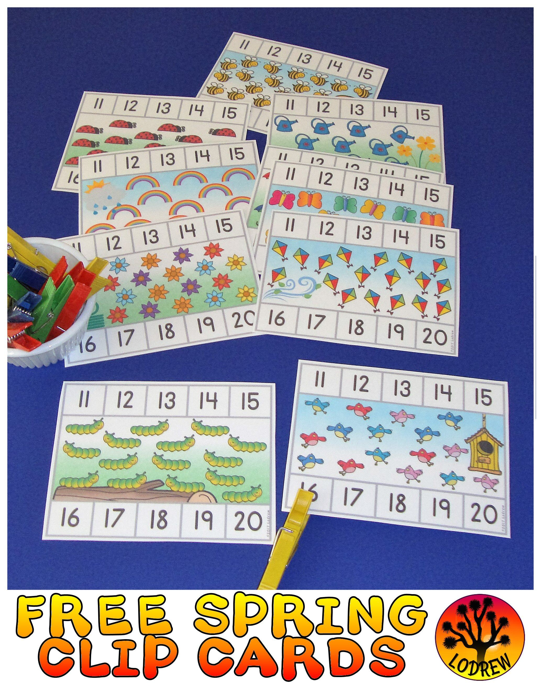 Spring Activities Free Clip Cards Counting 11 20 Spring Centers Math Fine Motor