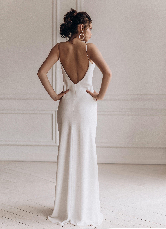 Satin Wedding Dress Reception Bridal Gown Open Back Etsy Straight Wedding Dresses Slip Wedding Dress Strappy Wedding Dress [ 3000 x 2178 Pixel ]
