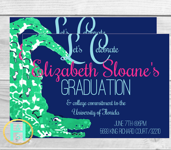 Preppy Graduation Invitation [Lilly Pulitzer inspired invite: custom, DIY, printable, PDF, Option for seller to print and ship]