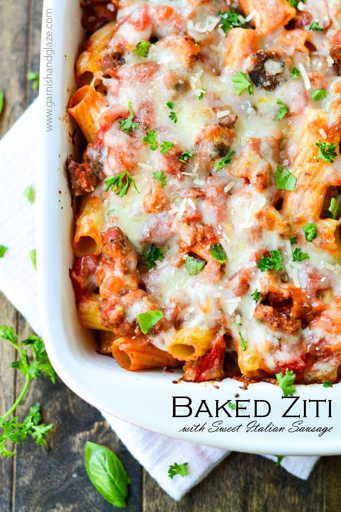 Easy Baked Ziti With Sweet Italian Sausage Recipe Baked Ziti Sweet Italian Sausage Pasta Casserole Recipes