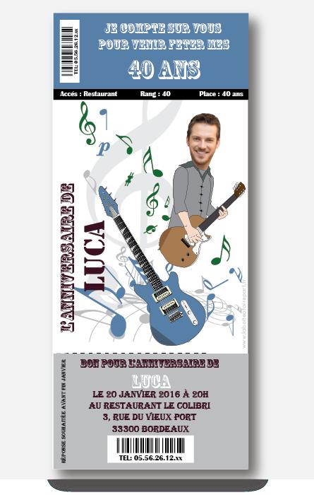 Invitation Anniversaire Homme Concert Man Invitation