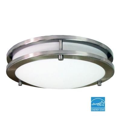 Hampton bay flaxmere 1 light brushed nickel flush mount 6105 at the