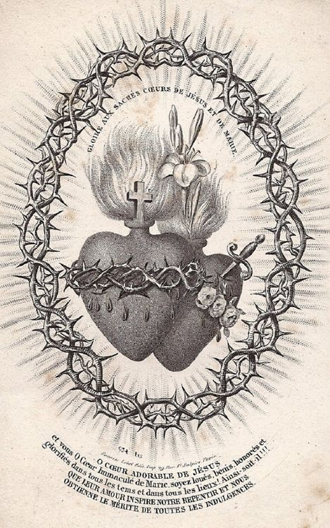 Glory to the sacred hearts of jesus and mary a 19th for 19th century tattoos