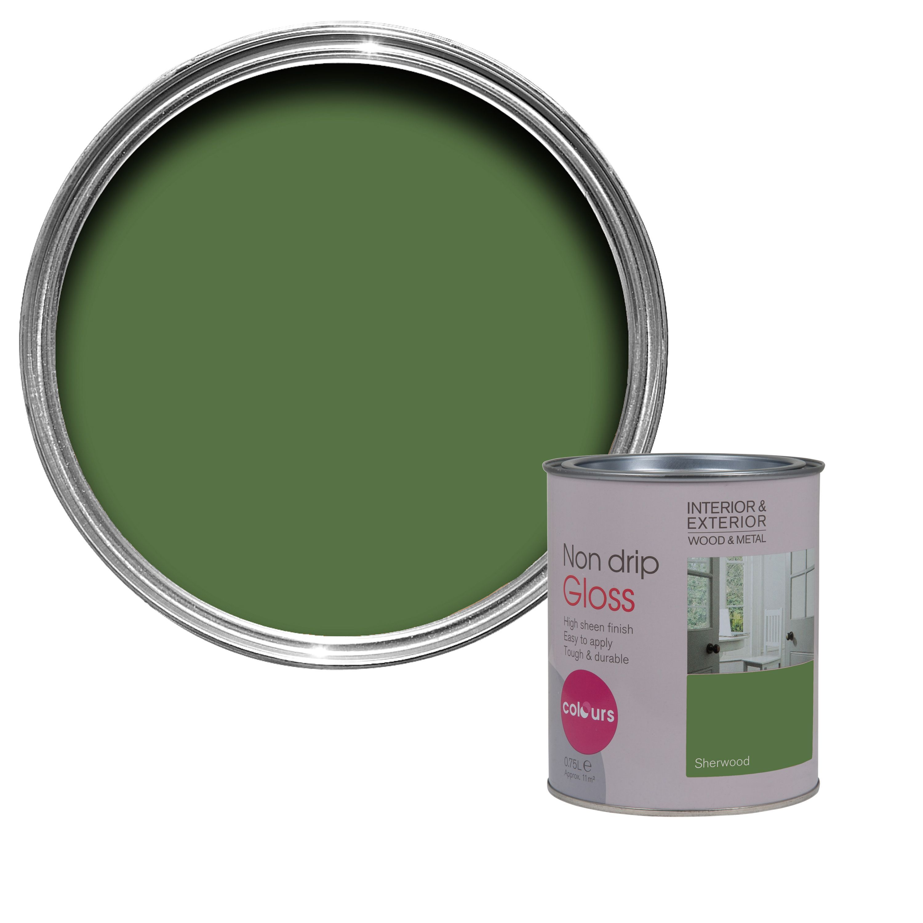 Colours Interior & Exterior Sherwood Gloss Wood & Metal Paint 750ml