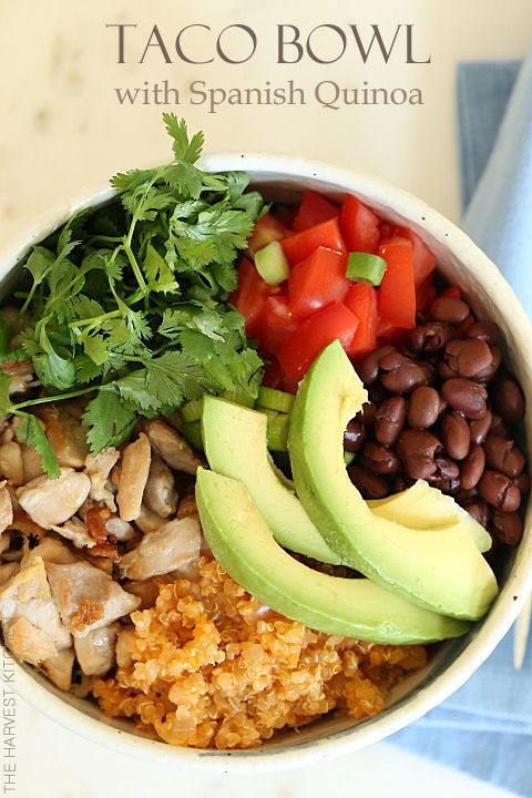 Taco bowl with spanish quinoa recipe healthy fast food quinoa taco bowls with spanish quinoa healthy fast food to make at home isn forumfinder Choice Image