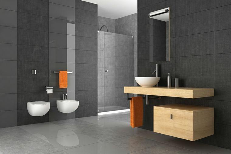 carrelage de salle de bain grise et bois et décoration moderne