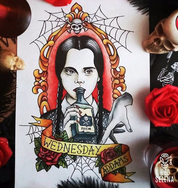 Original painting Not a print Wednesday Addams Tattoo by RedSelena