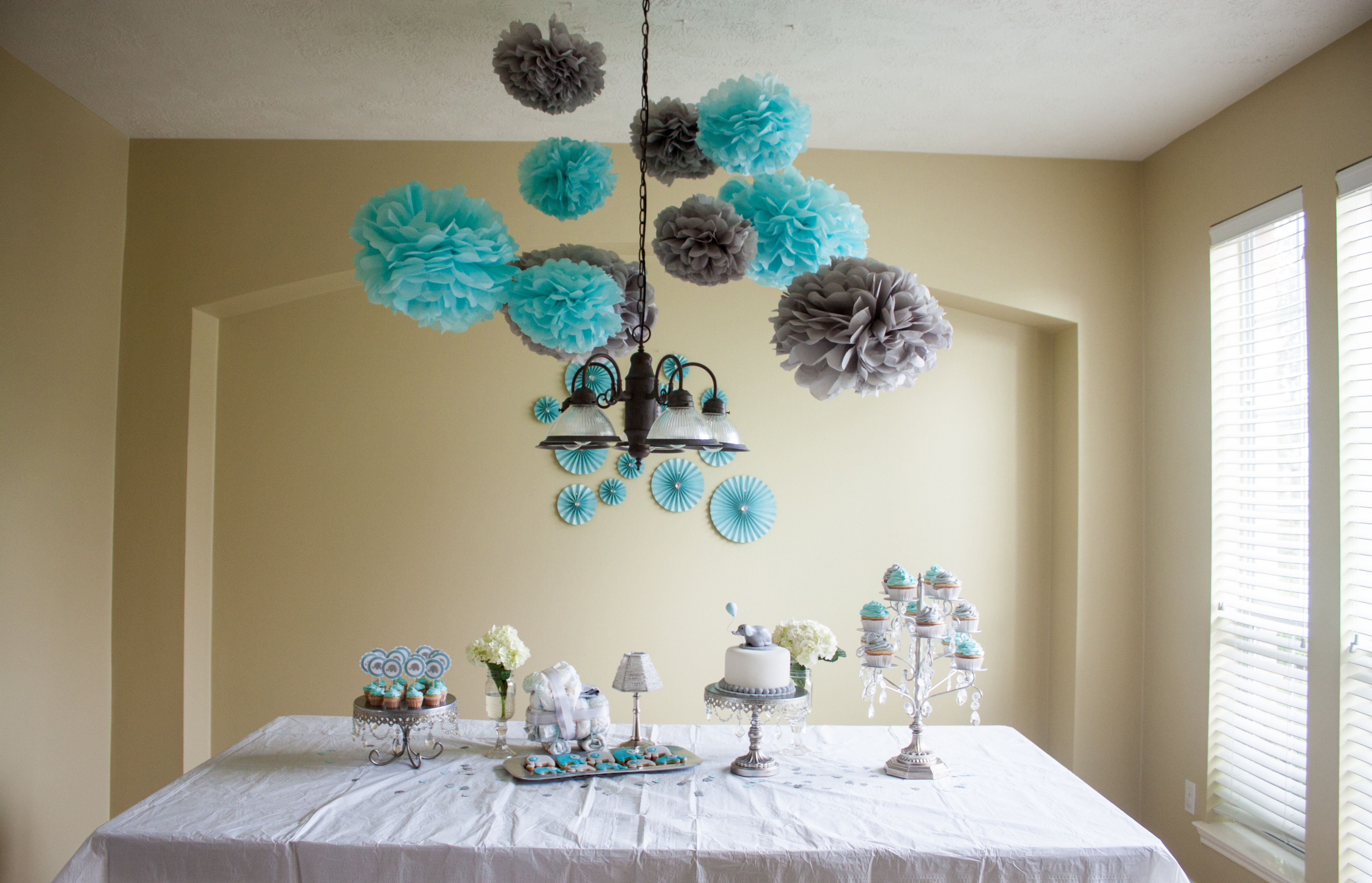 Blue and grey elephant baby shower