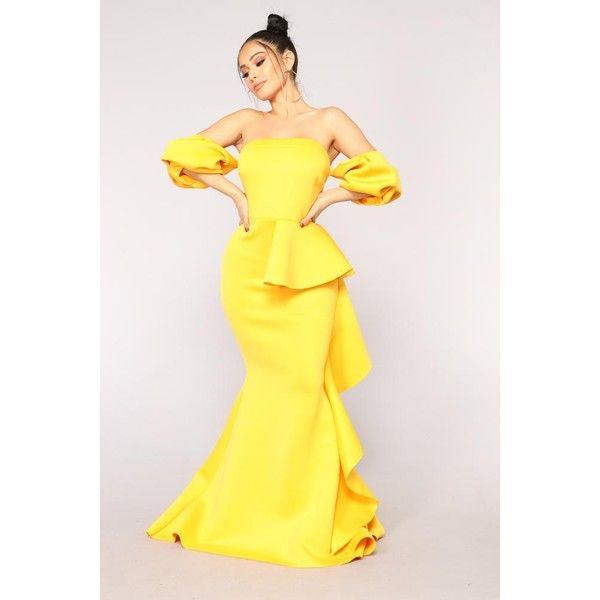 dc0b95d02502 Natasha Ruffle Dress Mustard ( 65) ❤ liked on Polyvore featuring dresses