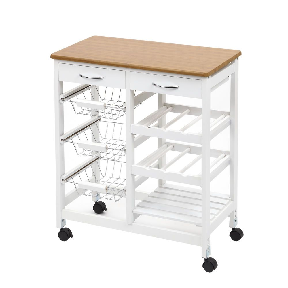 Kitchen trolley cart wood effect worktop white frame with lockable
