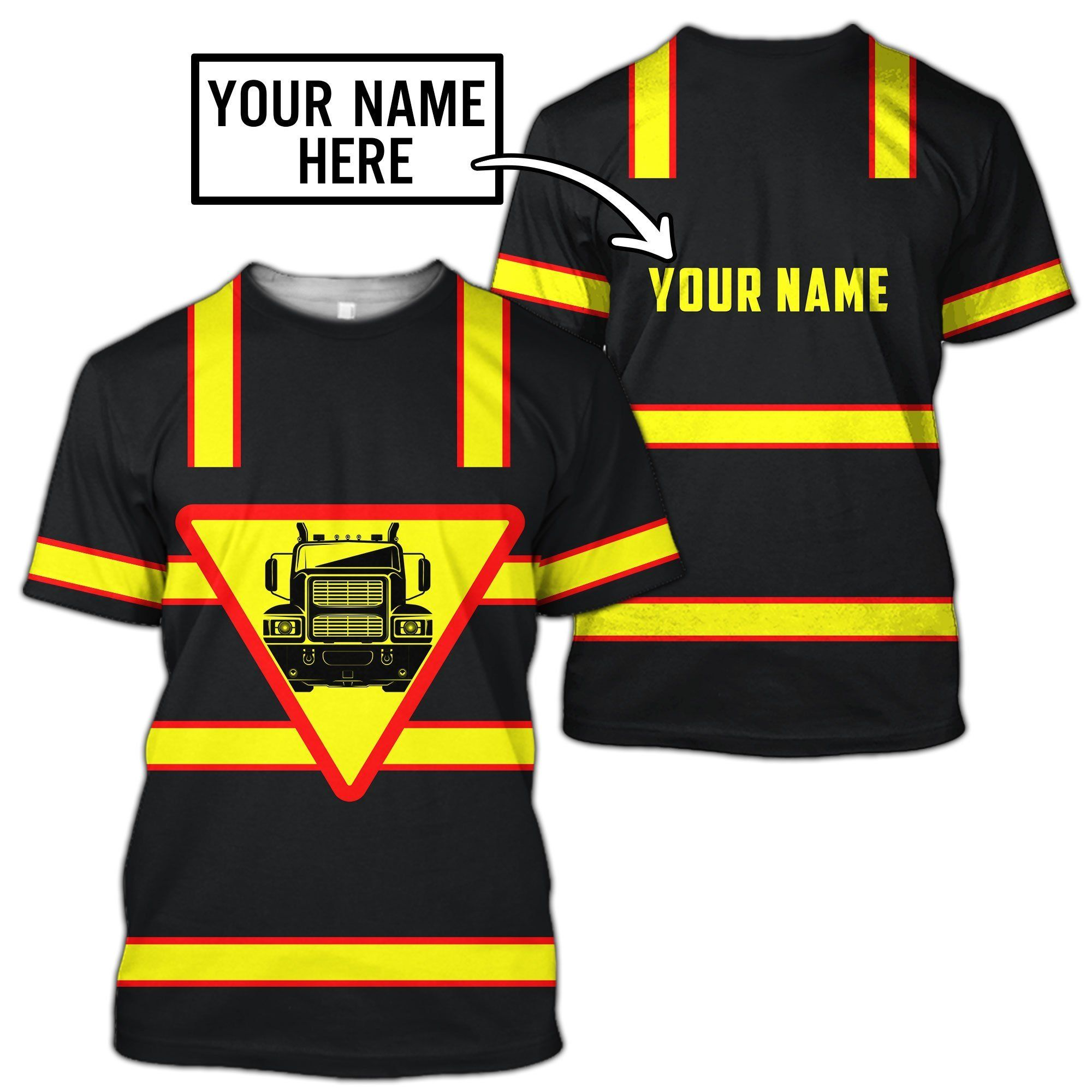 Premium Trucker Personalized Name 3D All Over Printed Unisex Shirts - T-Shirt / M