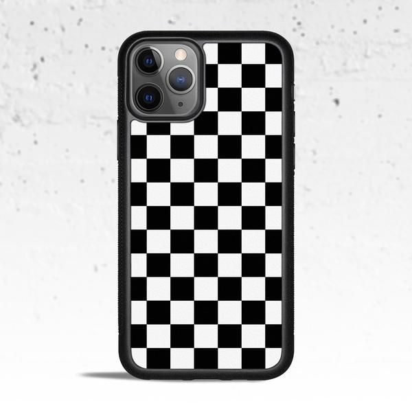 Black & White Checkered Phone Case for Apple iPhone (With