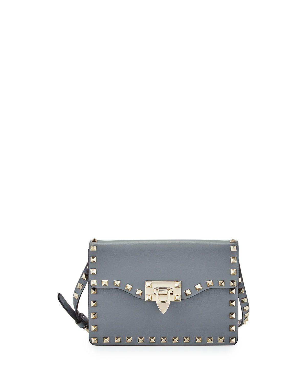 93b8b87c42de Red Valentino Small Rockstud Flap Crossbody Bag, Gray, Women's ...
