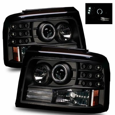 92 96 Ford Bronco F150 F250 Angel Eye Halo Projector Headlights Black Ford Bronco Bronco Projector Headlights