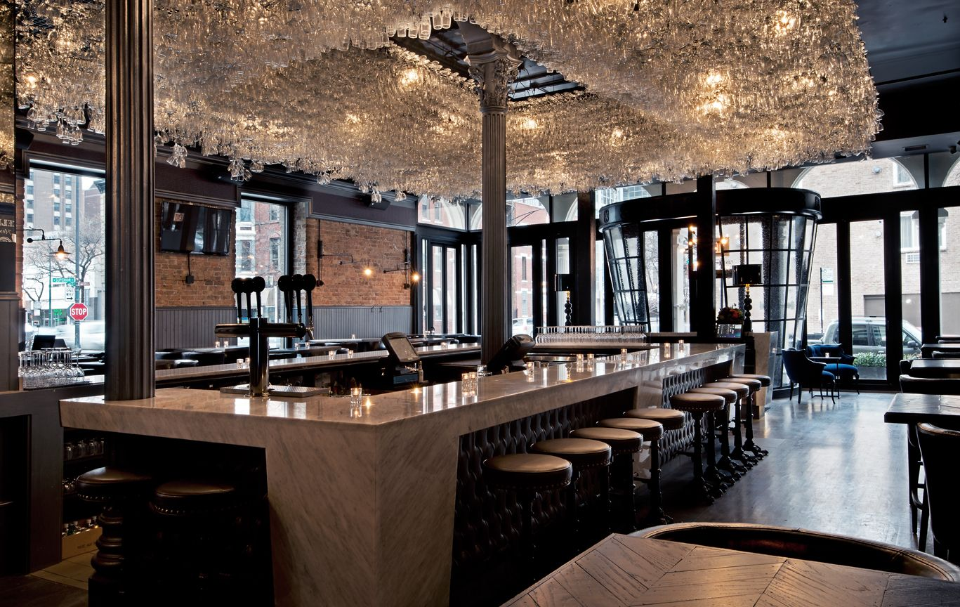 Wine glass chandelier at boarding house chicago rustic