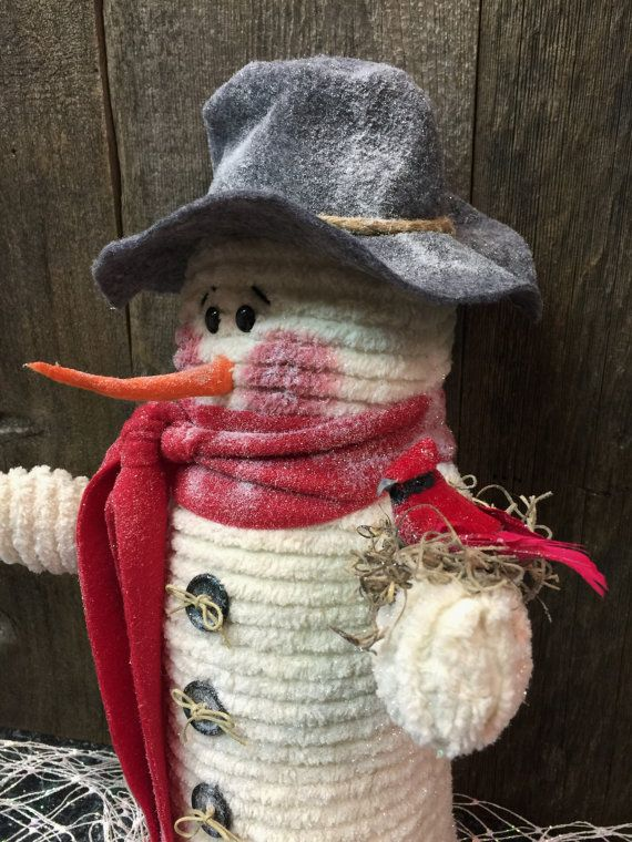 Snowman Handmade Vintage Off White by SewLoveChristmasShop on Etsy