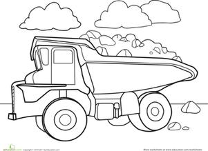 Color A Car Dump Truck Worksheet Education Com Truck Coloring Pages Coloring Pages Coloring Books