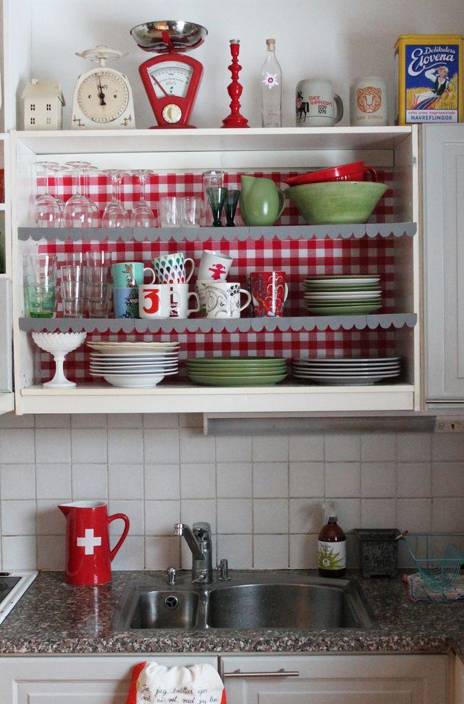 Kitchen shelf redo | i see red | Pinterest | Küche und Ideen