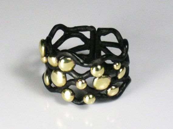 Black and gold colored statement cocktail ring by RadiantOriginals, $40.00