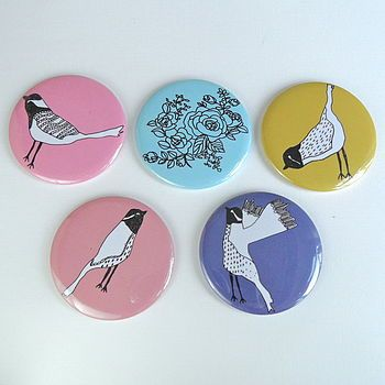British Birds Pocket Mirror by Hannah Stevens