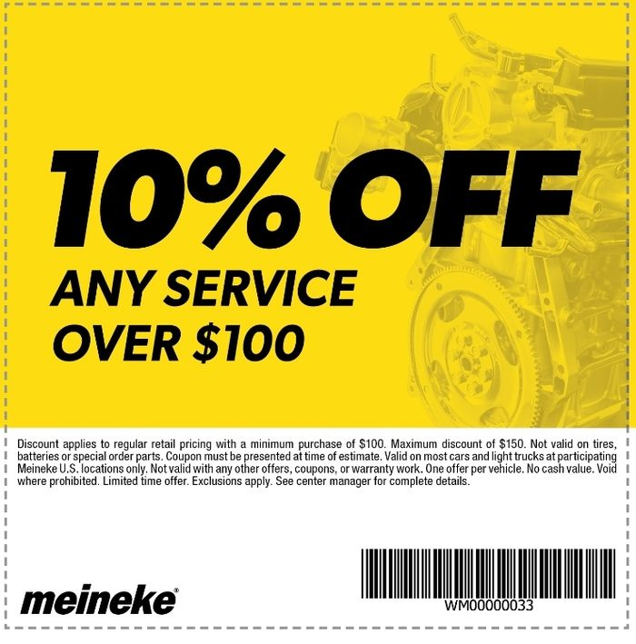 meineke Coupon 10 Off Any Service Over 100 Coupons
