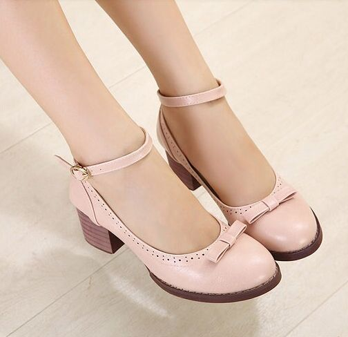 Womens Ankle Strap Mid Block Cuban Heels Mary Janes Pumps Shoes PU Leather Hot