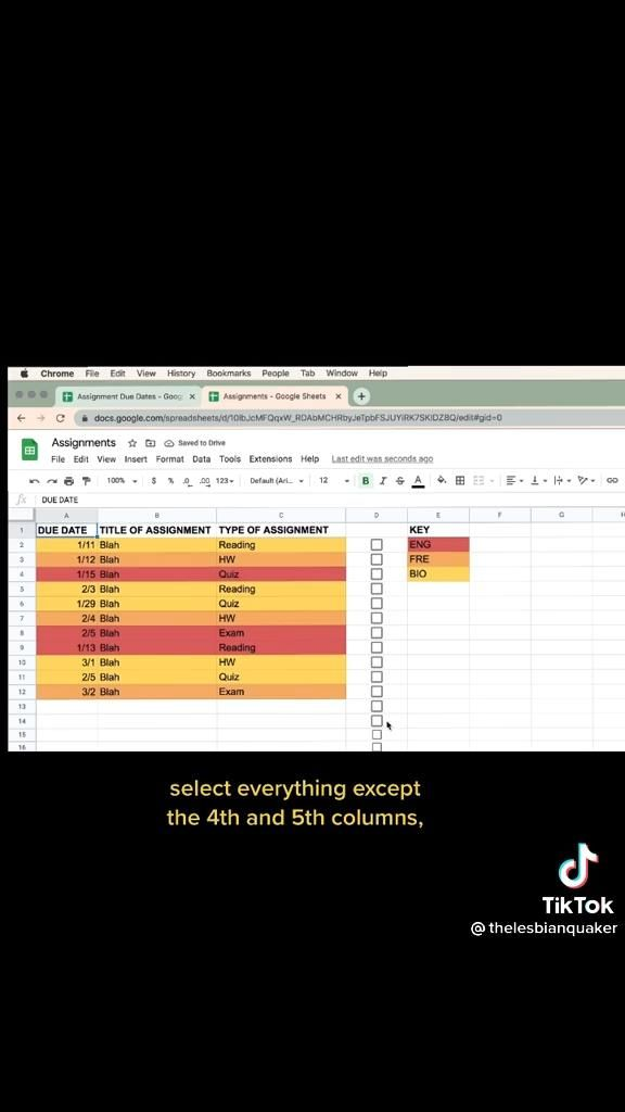 Assignment Spreadsheet Video In 2021 Google Drive Tips College Planning School Notes