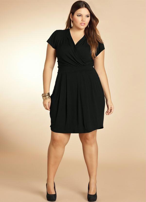 cb4459074 Vestido Preto com Decote Transpassado - Quintess | Women's fashion ...