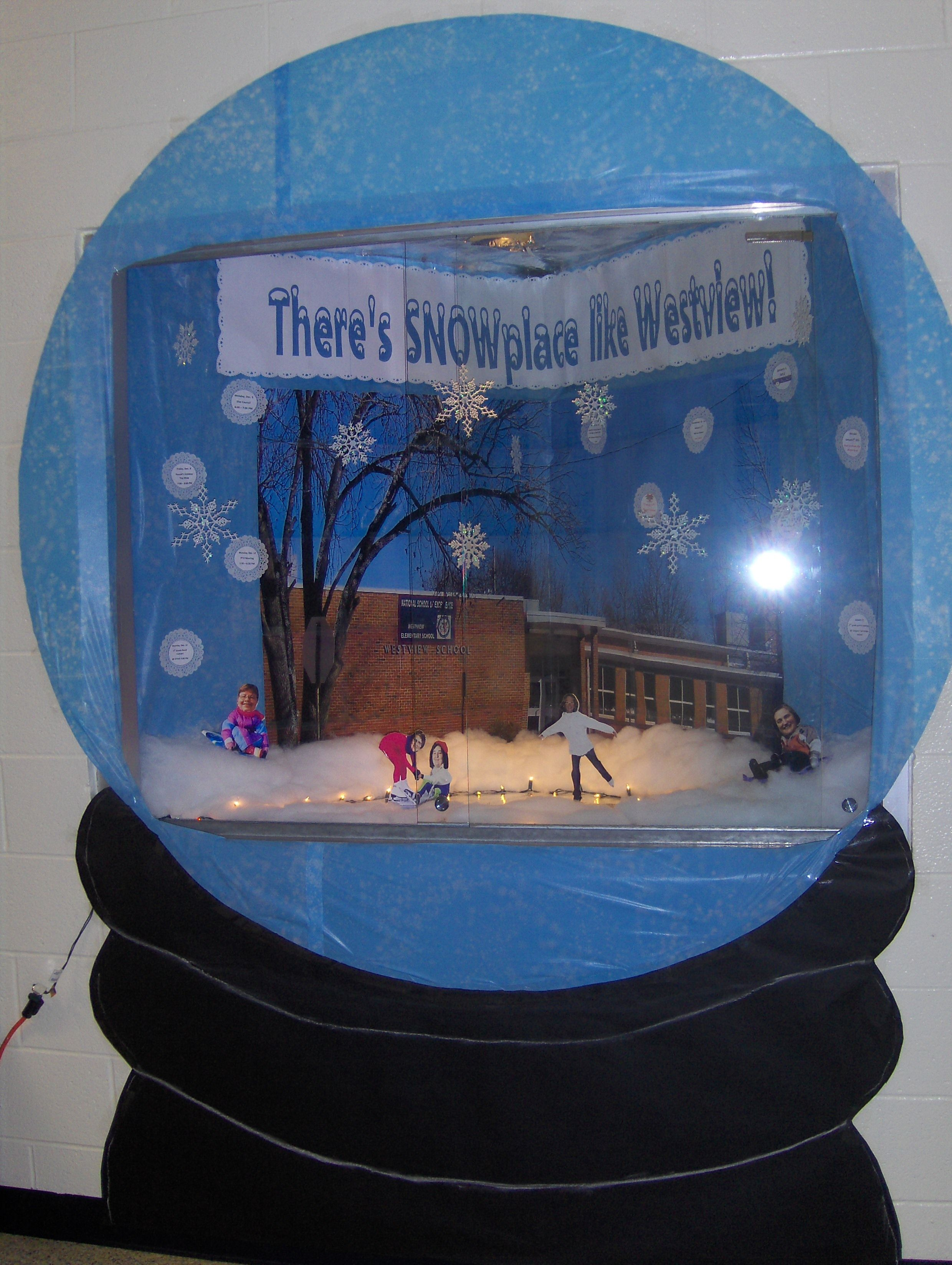 Christmas Door Decorating Ideas Snow Globe : The skaters are office staff and principal faces on