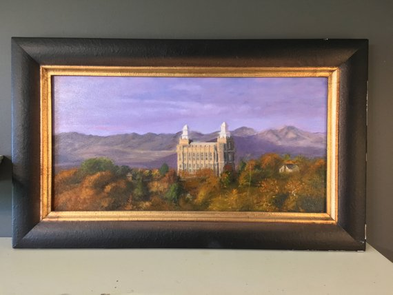 Original 12 X 24 Oil Painting Fortified Of The Logan Temple By