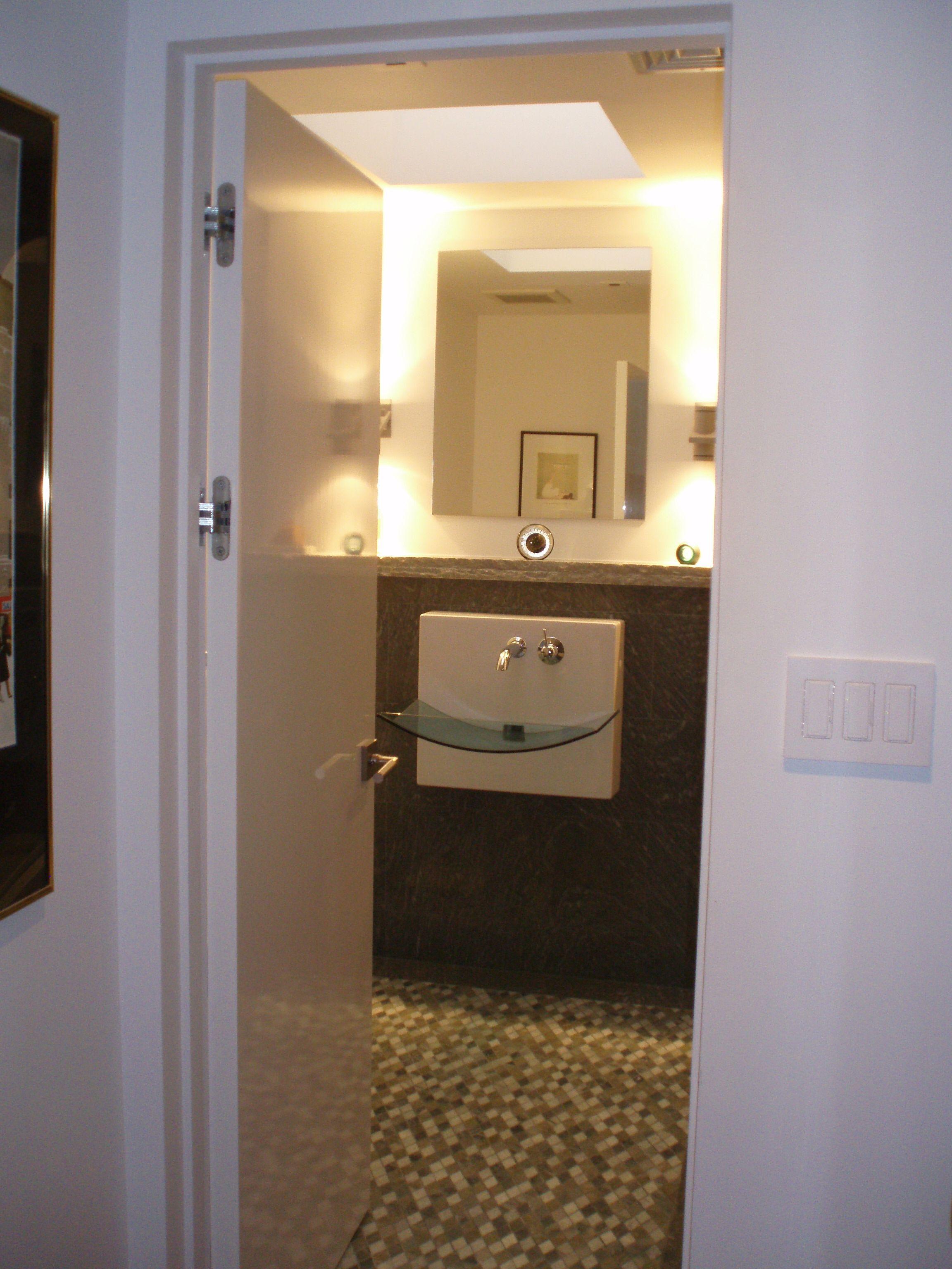 Ezy Jamb doorway into bathroom with concealed hinges