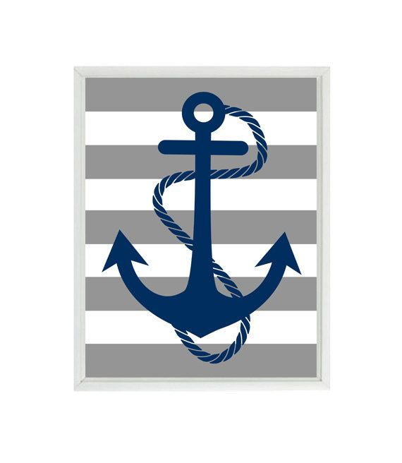 Anchor Wall Art anchor art print - navy blue gray stripes nautical nursery