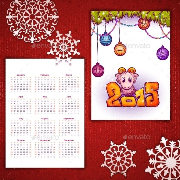 Vector Christmas Calendar with Sheep and 2015