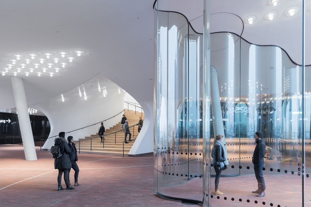 The Plaza Of The Elbphilharmonie By Herzog De Meuron Officially Opened To Public In Hamburg Hamburg Glass Facades Concert Hall