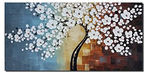 Wieco Art   Blooming Life Hand Painted Oil Painting, Stretched And Framed  Modern Canvas Wall Art For Home Decor Floral Oil Paintings On Canvas Art 24  By 48 ...