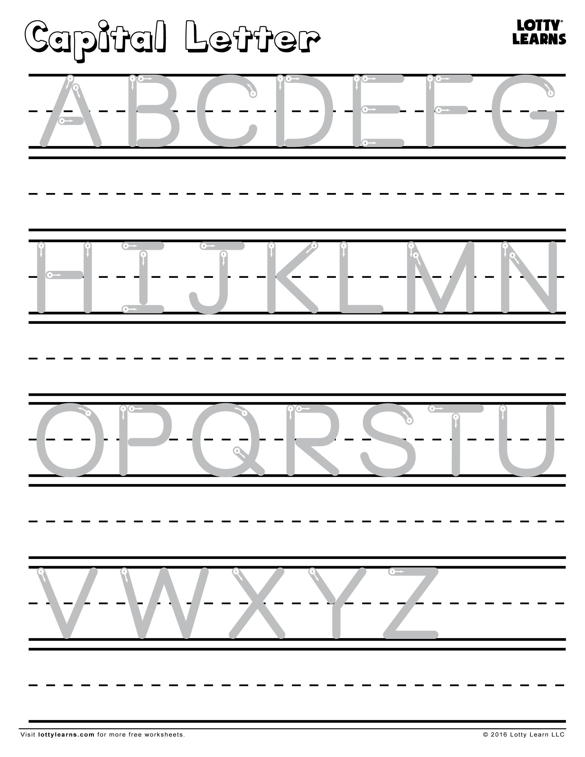 Capital Letter A-Z   Lotty Learns   Capital letters worksheet [ 2412 x 1864 Pixel ]