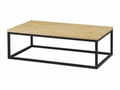 Table basse rectangulaire pin massif et métal CITY 110cm