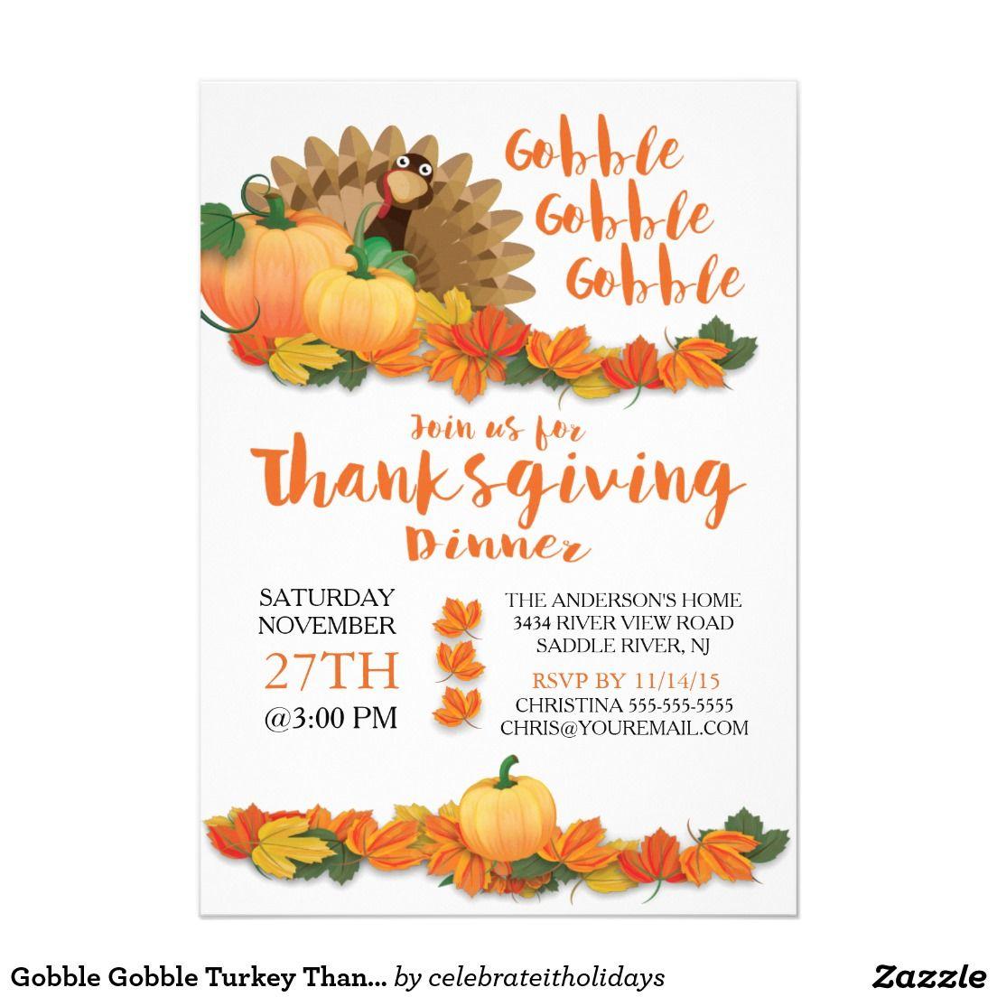 Gobble Gobble Turkey Thanksgiving Invitation