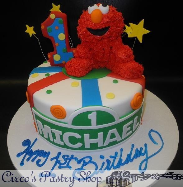 Elmo 1st Birthday Fondant Cake Elmo 1st Birthday Fondant Cake
