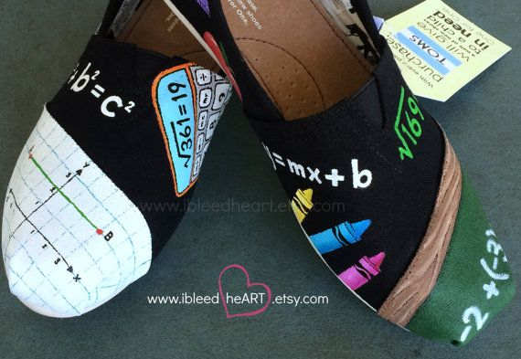 4358996485d10 Math School Teacher Custom Painted TOMS Shoes by ibleedheART | Shoes ...