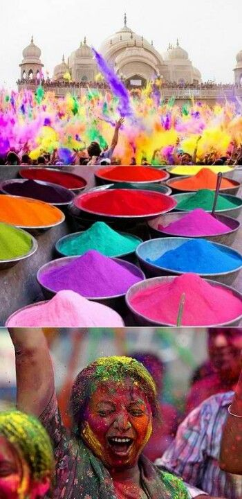 The Holi festival, celebrated at the end of March, marks the end of winter and the abundance of the upcoming spring harvest season.  Search 'holi' for amazing, colorful pics.