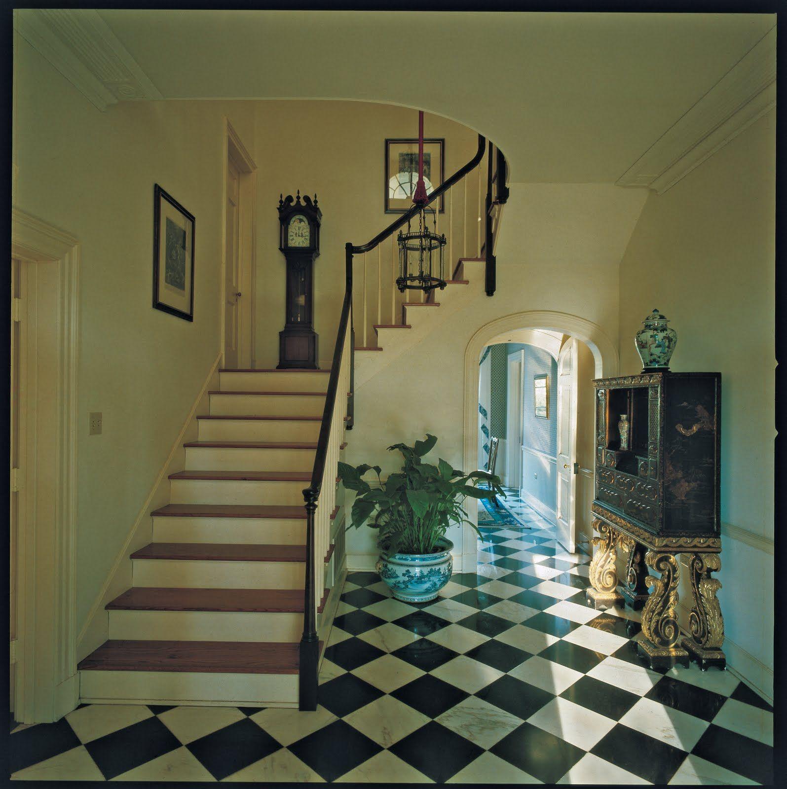 Mark Hampton Entrance Hall Of Louisiana House With Black