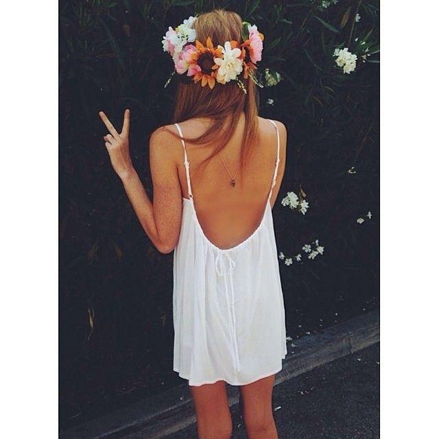 Simple Summer Dress Flower Crown Zazumi Com Fashion Style Boho