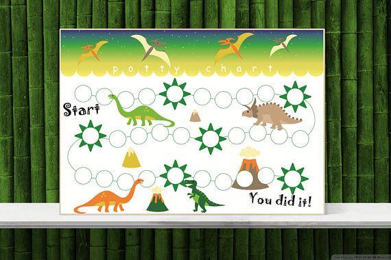 Dinosaur Sticker Chart Printable Potty Training Chart Toilet Etsy Potty Training Chart Sticker Chart Printable Sticker Chart